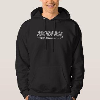 Distressed Retro Anchorage Logo Hoodie