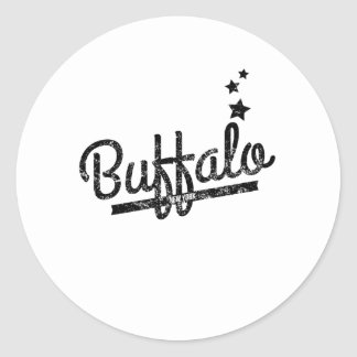 Distressed Retro Buffalo Logo Round Stickers