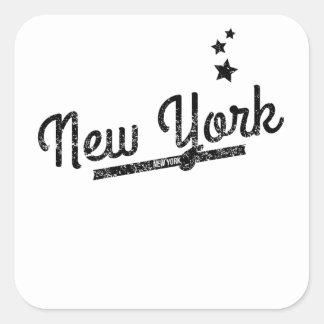 Distressed Retro New York Logo Square Sticker