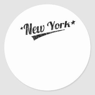 Distressed Retro New York Logo Round Sticker