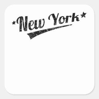 Distressed Retro New York Logo Square Stickers