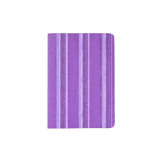 Distressed Retro Stripe Lavender Purple Passport Holder