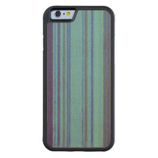 Distressed Retro Stripe Purple Avocado Blue Carved Maple iPhone 6 Bumper Case