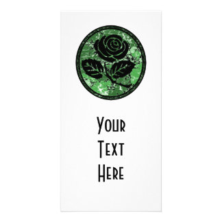 Distressed Rose Silhouette Cameo - Green Photo Card