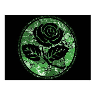 Distressed Rose Silhouette Cameo - Green Postcard