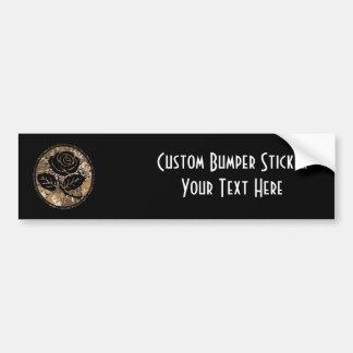 Distressed Rose Silhouette Cameo - Orange Bumper Sticker