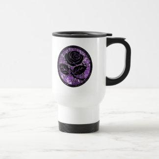 Distressed Rose Silhouette Cameo - Purple Mug