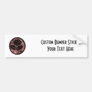 Distressed Rose Silhouette Cameo - Red Bumper Sticker