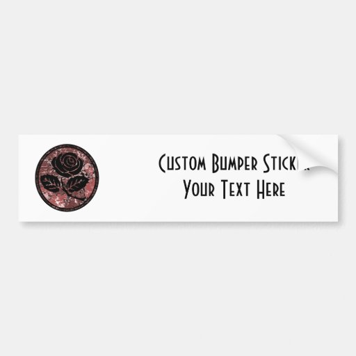 Distressed Rose Silhouette Cameo - Red Bumper Stickers
