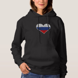 Distressed Russian Flag Heart Hoodie