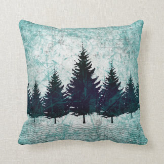 Distressed Rustic Evergreen Pine Trees Forest Throw Pillow