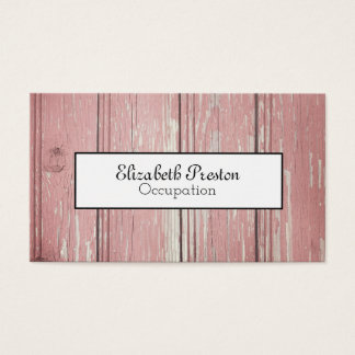 Distressed Rustic Pink Wood Effect Business Card