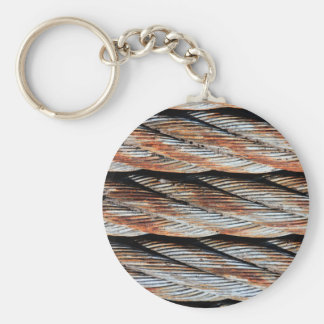 Distressed Rusting Metal Rope - Nautical Print Basic Round Button Keychain