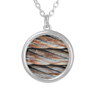 Distressed Rusting Metal Rope - Nautical Print Silver Plated Necklace