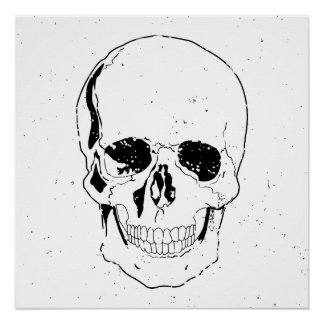 Distressed Scary Halloween Black Skull Poster
