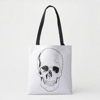 Distressed Scary Halloween Black Skull Tote Bag