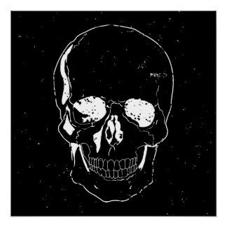 Distressed Scary Halloween White Skull Poster