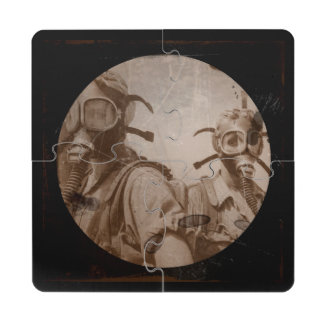 Distressed Sepia Gas Mask Girls Drink Coaster Puzzle