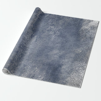 Distressed Silver Gray Grungy Blue Wrap Wrapping Paper