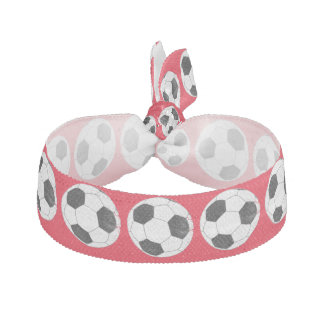 Distressed Soccer Ball w/Custom Background Color Elastic Hair Ties