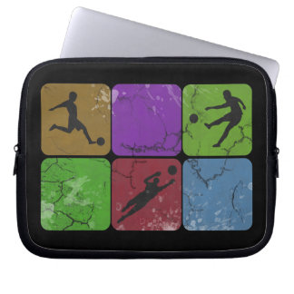 Distressed Soccer Player laptop sleeve
