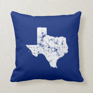 Distressed State Map Silhouette of Texas Throw Pillow