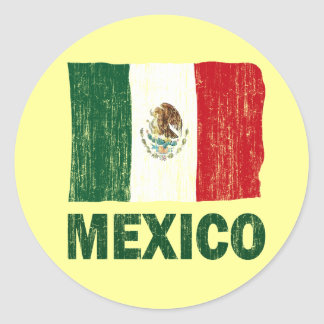 DISTRESSED STYLE MEXICO FLAG CLASSIC ROUND STICKER