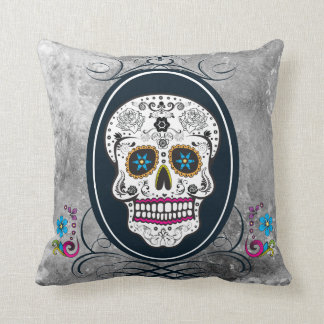 Distressed Sugar Skull in a Frame Pillow