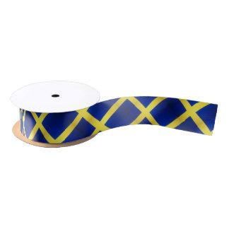 Distressed Swedish Flag Symbol Satin Ribbon