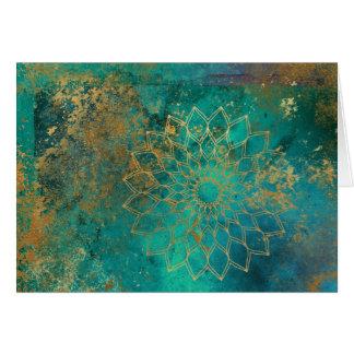 Distressed Teal Watercolor Gold Grunge Mandala Card