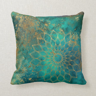 Distressed Teal Watercolor Gold Grunge Mandala Throw Pillow