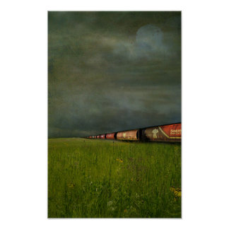 Distressed train poster