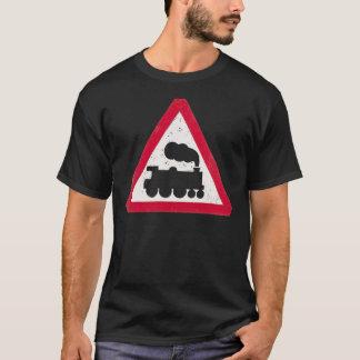 Distressed Train Traffic Sign Dark Mens T-Shirt