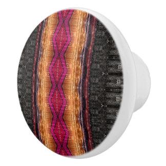 Distressed Tribal Stripe Ceramic Knob
