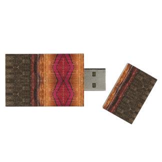 Distressed Tribel Stripe Wood USB Flash Drive