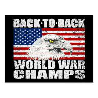 Distressed U.S. Flag & Eagle World War Champs Postcard