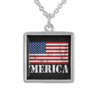 Distressed U.S. Flag 'MERICA Sterling Silver Necklace
