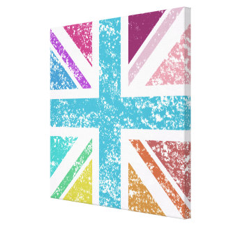 Distressed Union Flag Multicol Square Canvas Print