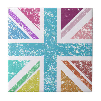 Distressed Union Flag Multicol Square Tile