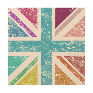 Distressed Union Flag Multicol Square Wood Wall Decor