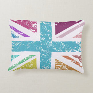 Distressed Union Flag Multicolored Accent Pillow