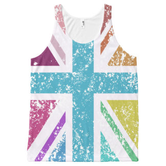 Distressed Union Flag Multicolored All-Over-Print Tank Top
