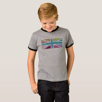 Distressed Union Flag Multicolored Panel T-Shirt