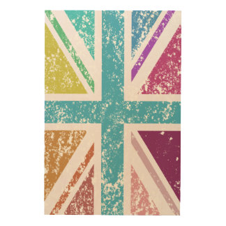 Distressed Union Flag Multicolored Wood Wall Art