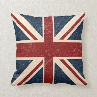 Distressed Union Jack British Flag Throw Pillow