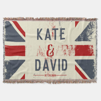 Distressed Union Jack Couple's Names Wedding Gift Throw Blanket