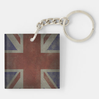 Distressed Union Jack Double-Sided Square Acrylic Keychain