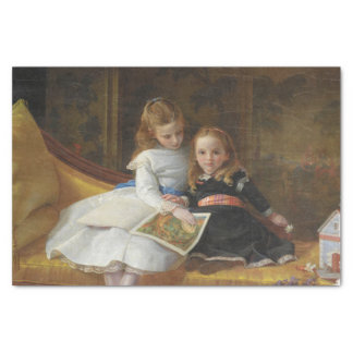 Distressed Victorian Two Young Girls Tissue Paper