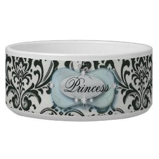 distressed vintage black and white damask pet food bowls