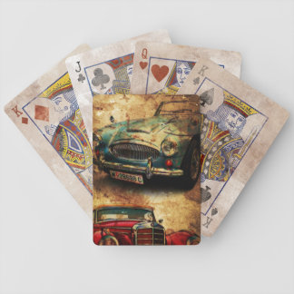 Distressed Vintage Cars Collector's Bicycle Playing Cards